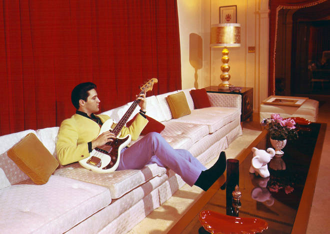 Elvis Presley at his Graceland home