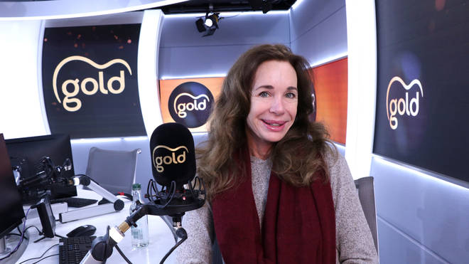 Mary Crosby in the Gold Radio studio