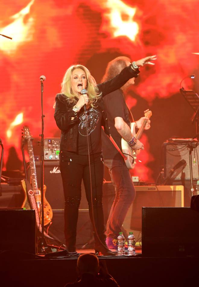Bonnie Tyler on stage during the Music For The Marsden concert held at The O2 Arena