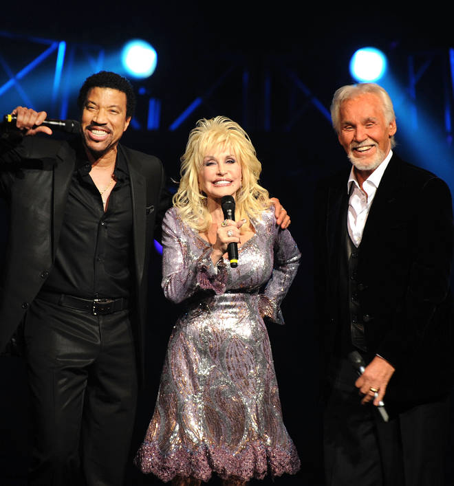 Lionel Richie with Dolly Parton and Kenny Rogers