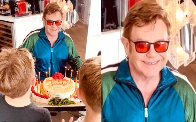Elton John celebrates 73rd birthday at home in self-isolation with family
