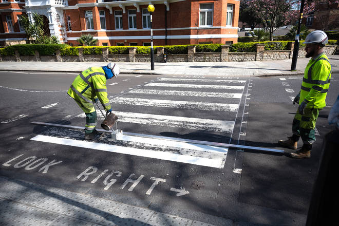 Abbey Road's iconic Beatles zebra crossing repainted during coronavirus pandemic