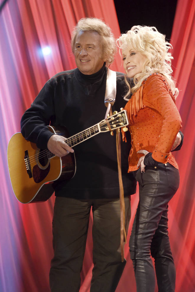 """Don McLean and Dolly Parton at the pre-taping for the """"Dolly Parton's Smoky Mountains Rise: A Benefit for the My People Fund"""