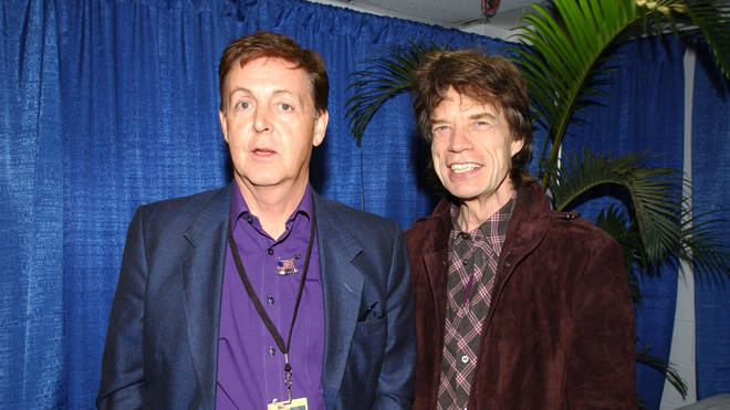 Paul McCartney and Mick Jagger together in 2001