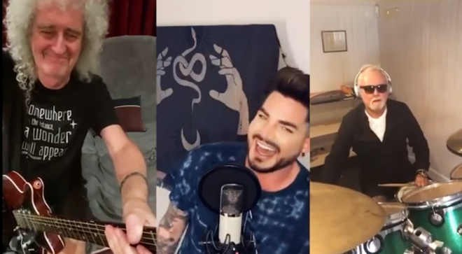 Adam Lambert, Brian May and Roger Taylor performed the iconic tune during self-isolation
