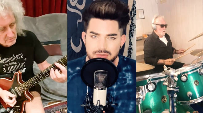Queen's Brian May and Roger Taylor and singer Adam Lambert teamed up virtually between the UK and Los Angeles for the new rendition