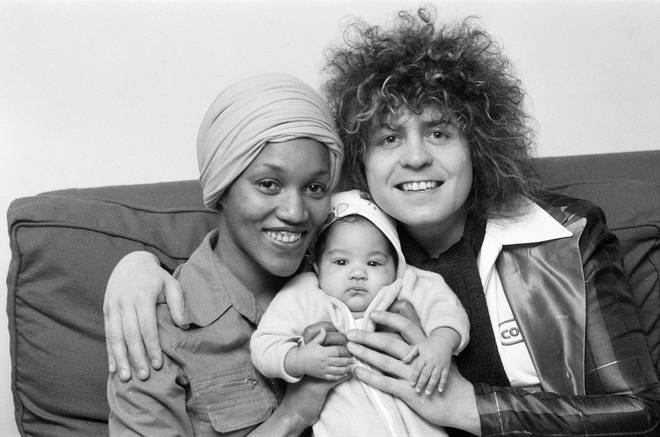 Marc Bolan with Gloria Jones and their son Rolan Bolan in 1975