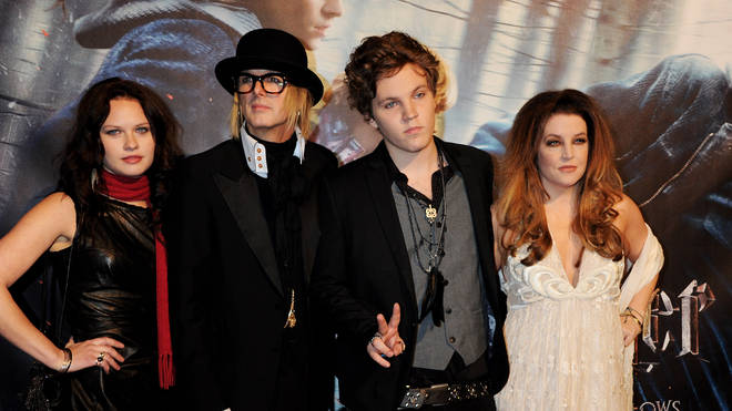 Benjamin Keough (second from right) with mother Lisa Marie in 2010