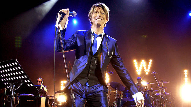 David Bowie performing at the Hammersmith Apollo in 2003