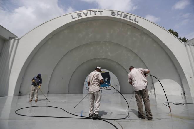 Vandals also targeted the Levitt Shell, a popular open-air concert amphitheatre