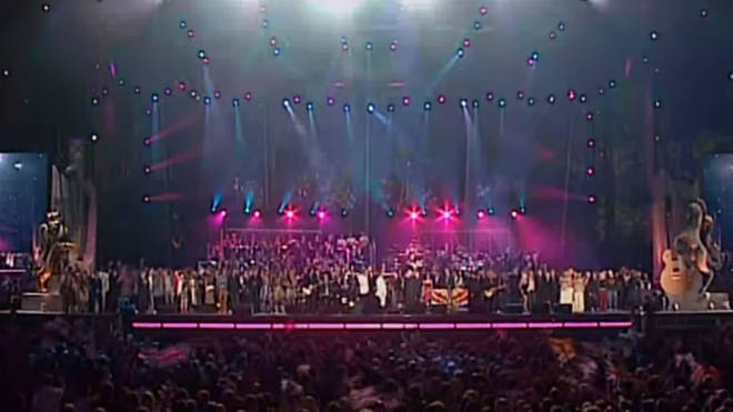 Everyone from Ozzy Osbourne and Bryan Adams to Cliff Richard and Tom Jones appeared on stage to sing 'All You Need In Love'.