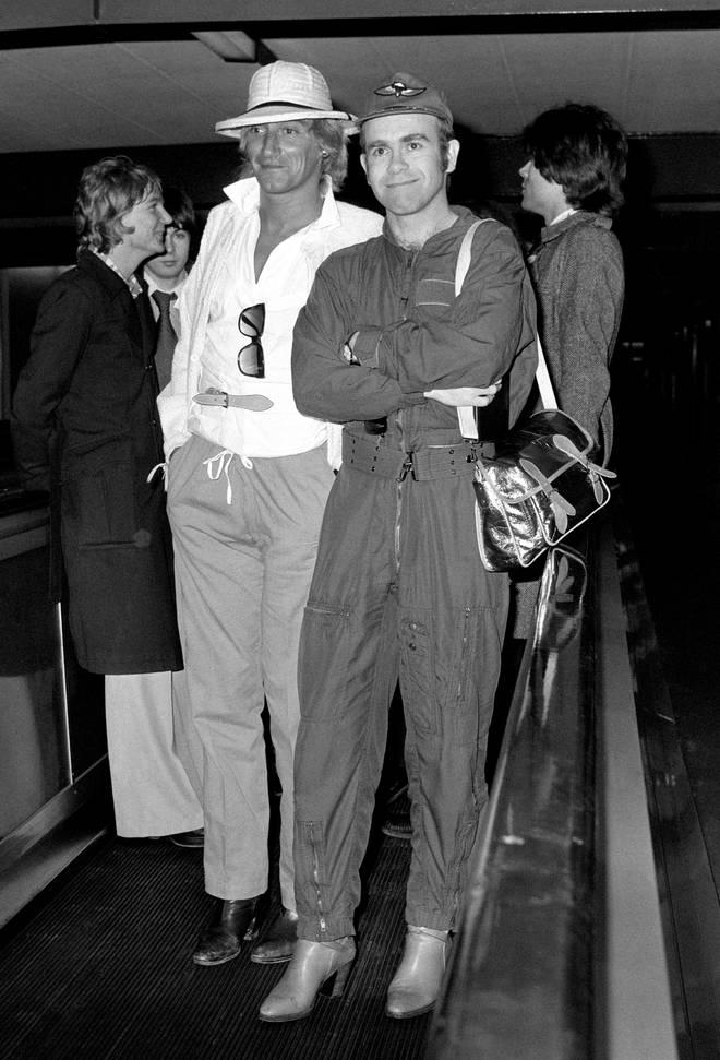 Sir Rod Stewart and Sir Elton John at London's Heathrow Airport in 1978 after holidaying in Rio de Janeiro together