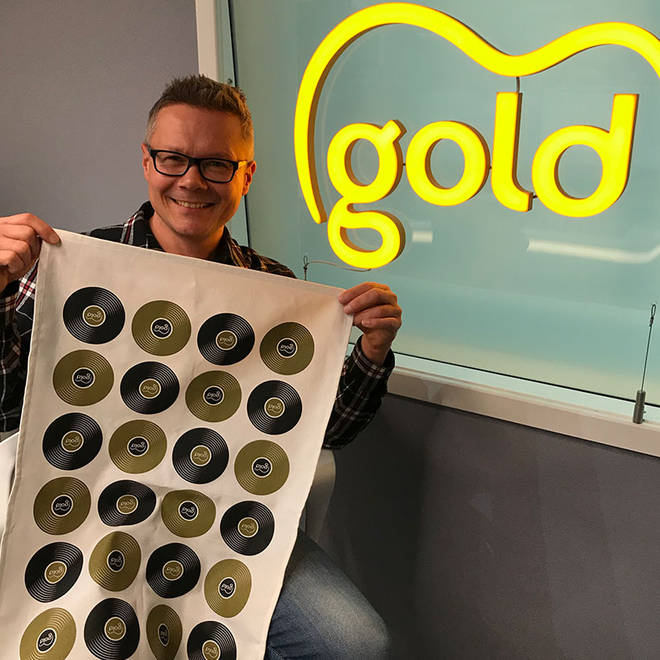 James Bassam with a limited edition Gold tea towel!