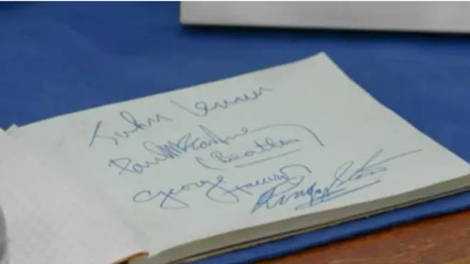The guest also accompanied the helmet with a book containing the Beatles four signatures (pictured).