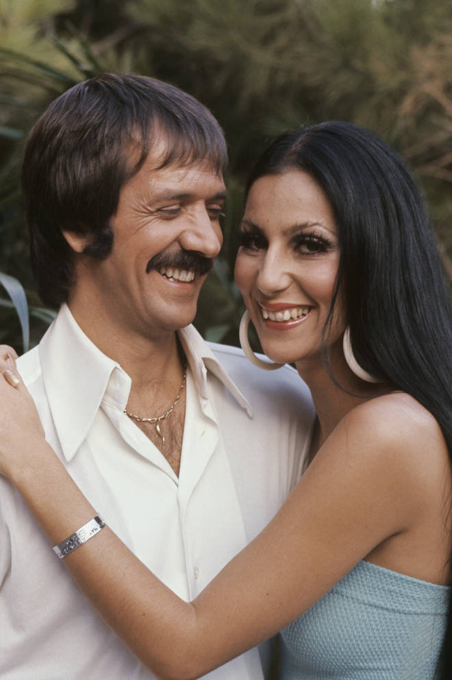 "In front of millions of people at his live televised funeral in 1998, Cher gave the eulogy and said her ex-husband was ""the most unforgettable character I&squot;ve ever met"". (The couple pictured in c.1970)"
