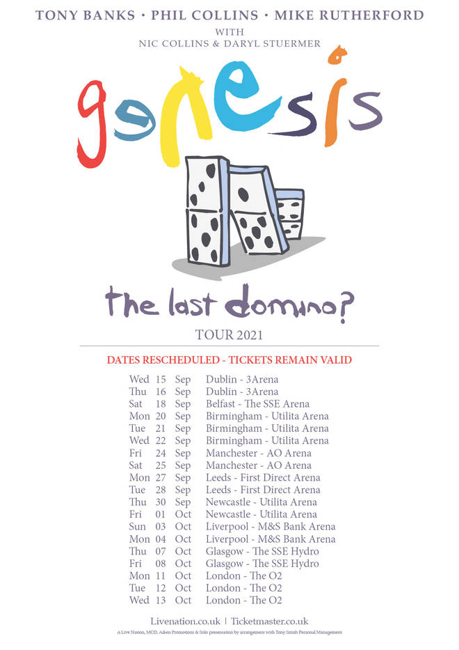 Genesis have announced their new dates for The Last Domino? tour in 2021