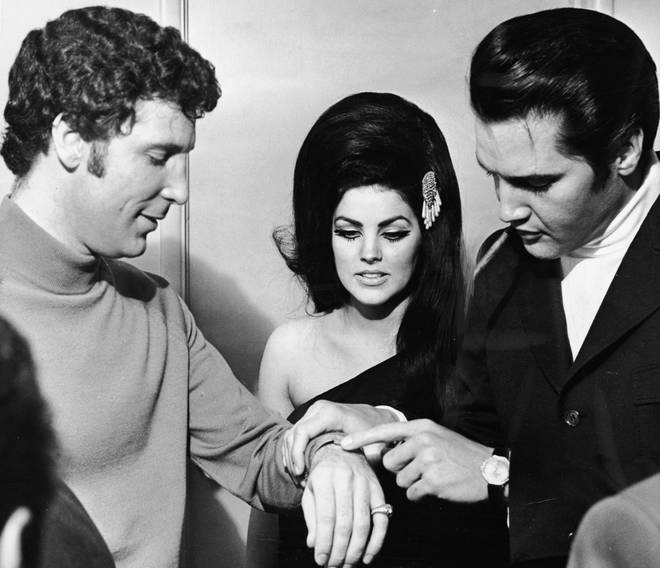 """""""We would all get together at a friend's house and they would sing songs at the end of the night. Tom liked to sing Elvis' """"One Night With You"""" Pictured: Tom Jones With Elvis And Priscilla Presley in 1968."""