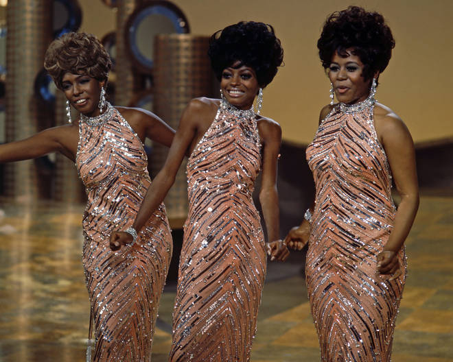 The Supremes Cindy Birdsong, Diana Ross and Mary Wilson during a live concert performance, circa 1965.