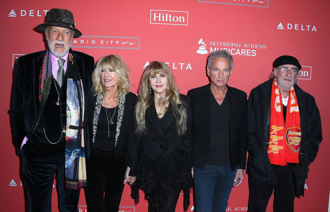 (L to R) Mick Fleetwood, Christine McVie, Stevie Nicks, Lindsey Buckingham, and John McVie of Fleetwood Mac at the 60th Annual GRAMMY Awards on January 26, 2018