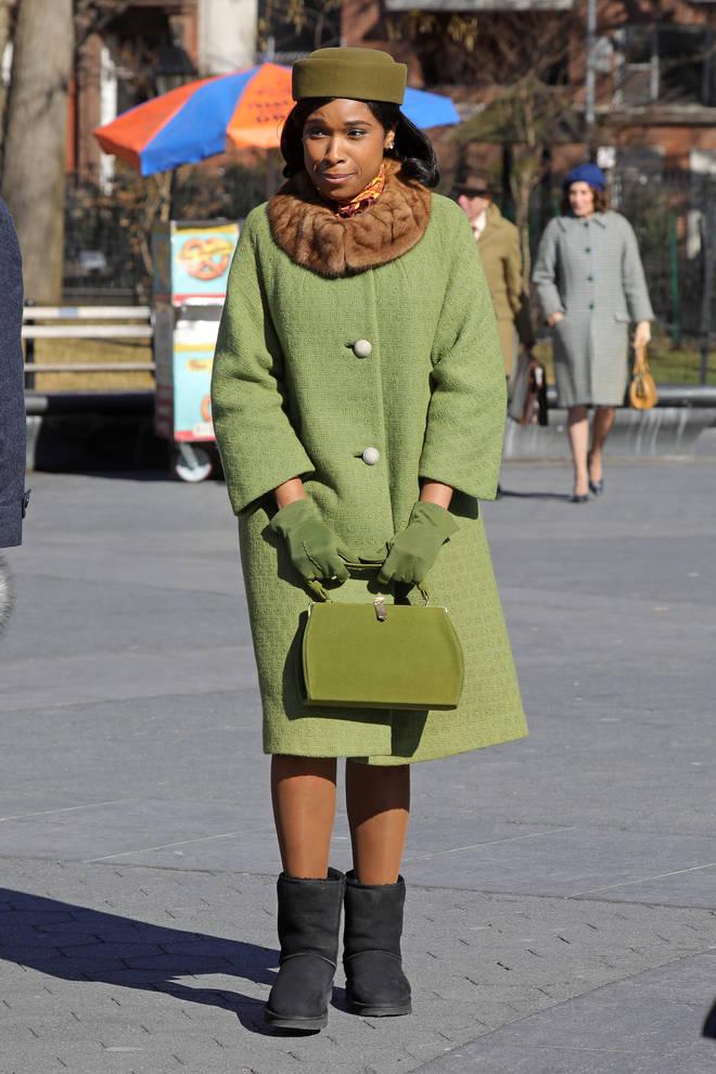 Jennifer Hudson on set as Aretha Franklin in Respect