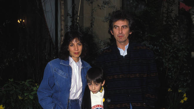 George Harrison with Olivia and Dhani in 1988