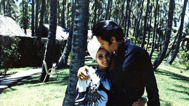 Elvis and Priscilla Presley at home