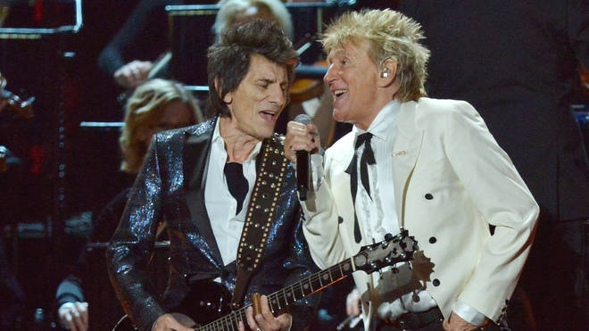 Rod Stewart and Ronnie Wood at the 2020 Brit Awards