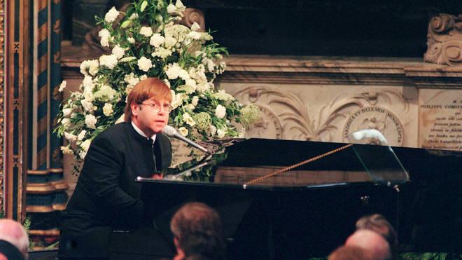 Elton John at Princess Diana's funeral