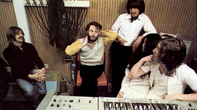 The Beatles and John Lennon's partner, Yoko Ono, in the recording studio