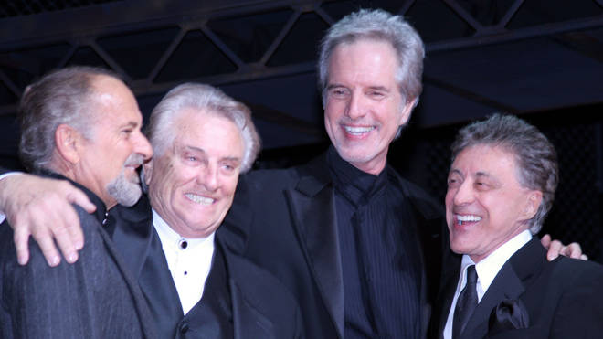Tommy DeVito, Bob Gaudio and Frankie Valli in 2005 (with Joe Pesci, left)