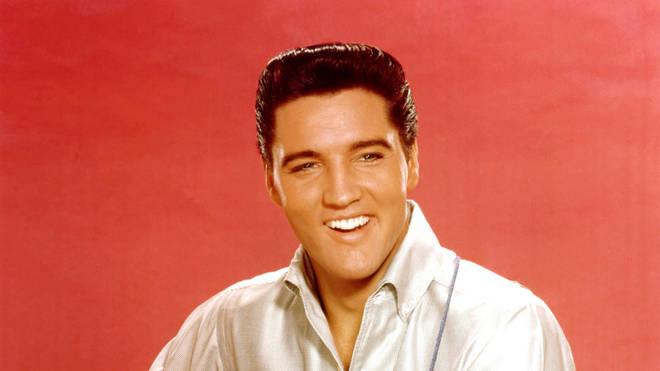 Elvis Presley portrait with acoustic guitar