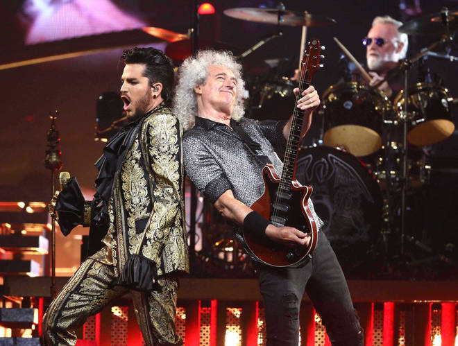 Adam Lambert with Queen's Brian May and Roger Taylor