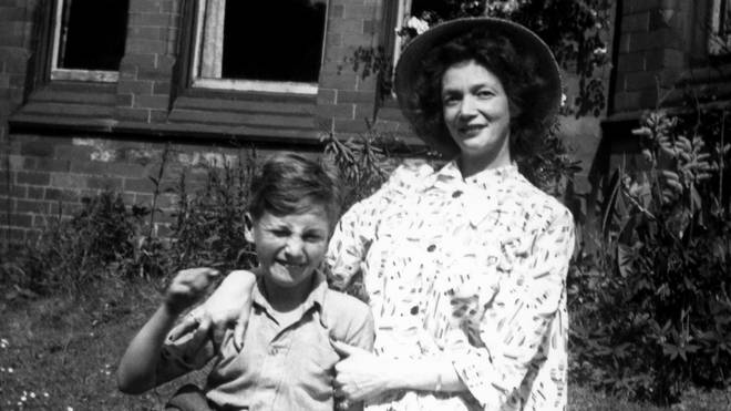 John Lennon and his mother Julia Lennon in 1949