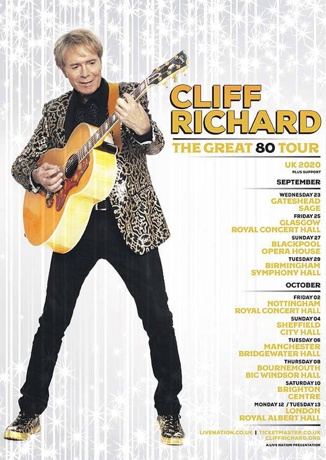 Sir Cliff Richard's 2020 tour dates