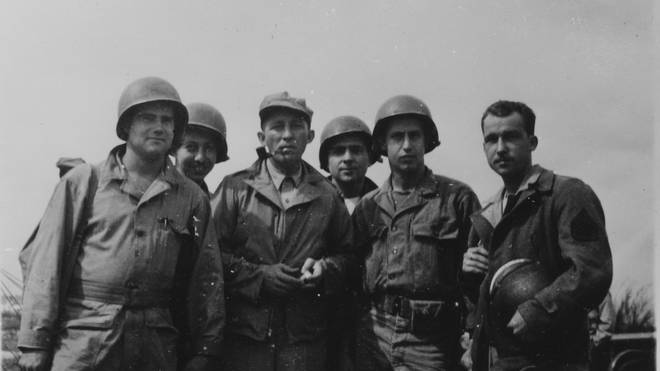 Bing Crosby with soldiers